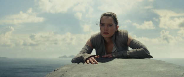 Rey all wet and shaken by the power that washed over her